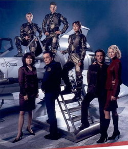 Promotional shot for the 2003 Battlestar Galactica miniseries