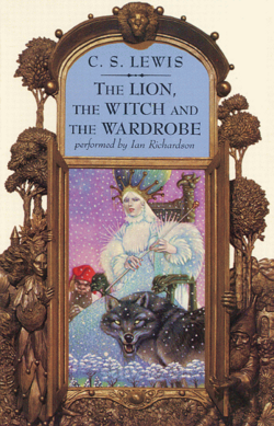 The cover to an audio book edition of The Lion, the Witch and the Wardrobe by C. S. Lewis, with artwork by Leo and Diane Dillon