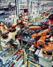 Computer-controlled robots are now common in industrial manufacture.