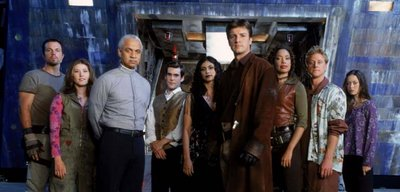 The crew of Serenity. From left to right: Jayne, Kaylee, Book, Simon, Inara, Mal, Zoë, Wash, and River.