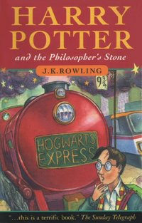 Cover of the original novel in the series, Harry Potter and the Philosopher's Stone.