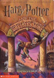 Cover of the United States edition of Harry Potter and the Philosopher's Stone, retitled Harry Potter and the Sorcerer's Stone