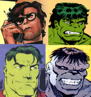 "The four main Hulk incarnations. Clockwise from top left: Bruce Banner, the Savage Hulk, the Grey Hulk (""Joe Fixit"") and the Merged Hulk (""the Professor"")"