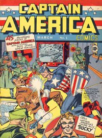 Captain America Comics #1 (March 1941), art by Jack Kirby (penciler) and Joe Simon (inker).