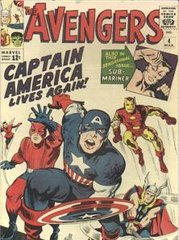 The cover of The Avengers #4 by Jack Kirby and George Roussos. From left: The Wasp, Ant-Man, Captain America, Iron Man, Thor