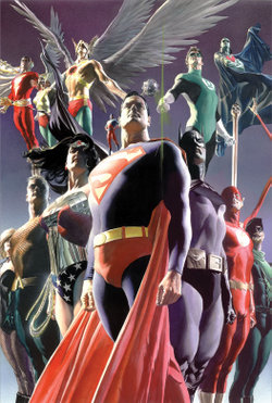 Justice League members. Art by Alex Ross.