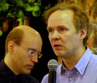 "David Axmark (left) and Michael ""Monty"" Widenius, Founders of MySQL AB, at a conference"