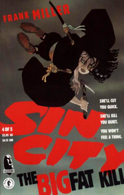 Cover to Sin City: The Big Fat Kill #4. Art by Frank Miller. The assassin Miho.