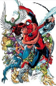 Amazing Spider-Man #500, featuring Spider-Man along with his wife, Mary Jane Watson, surrounded by many of his numerous villains. Art by J. Scott Campbell.