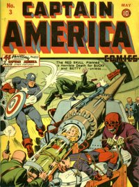 A text filler in Captain America Comics #3 (May 1941) was Lee's first published work. Cover art by Alex Schomburg.