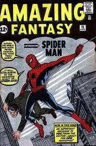 Amazing Fantasy #15 (1962), the first appearance of Spider-Man, Lee's most famous co-creation, with cover art by Jack Kirby
