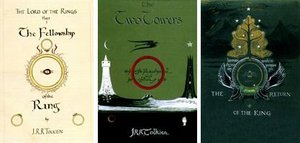 Cover design for the three volumes of The Lord of the Rings by Tolkien