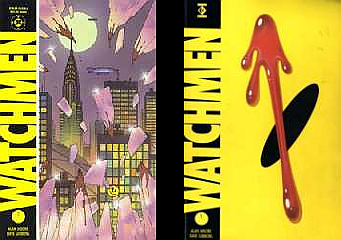 Cover art for both the U.S. and U.K. collected editions of the Watchmen comics, published 1987 by DC Comics/Titan Books