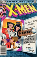 Wolverine and Mariko. Cover to Uncanny X-Men #172. Art by Paul Smith.