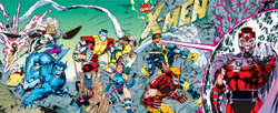 X-Men #1 (1990s) had several variant covers, including this wraparound and gatefold version combining the four other covers. Art by Jim Lee.
